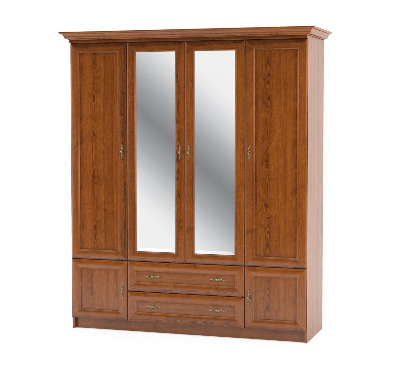 Шкаф 4Д2Ш Даллас вишня Мебель-сервис