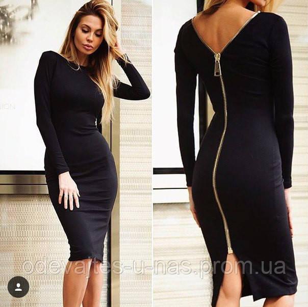 956c3c066d79c4c Женское облегающее платье сзади на молнии черное 710/05 ЛЛ 16ПНН ...