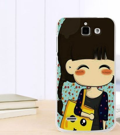 Силиконовый чехол бампер для Huawei Ascend G730 с картинкой Девочка