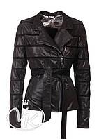 Черная кожаная куртка лазерная (размер S)