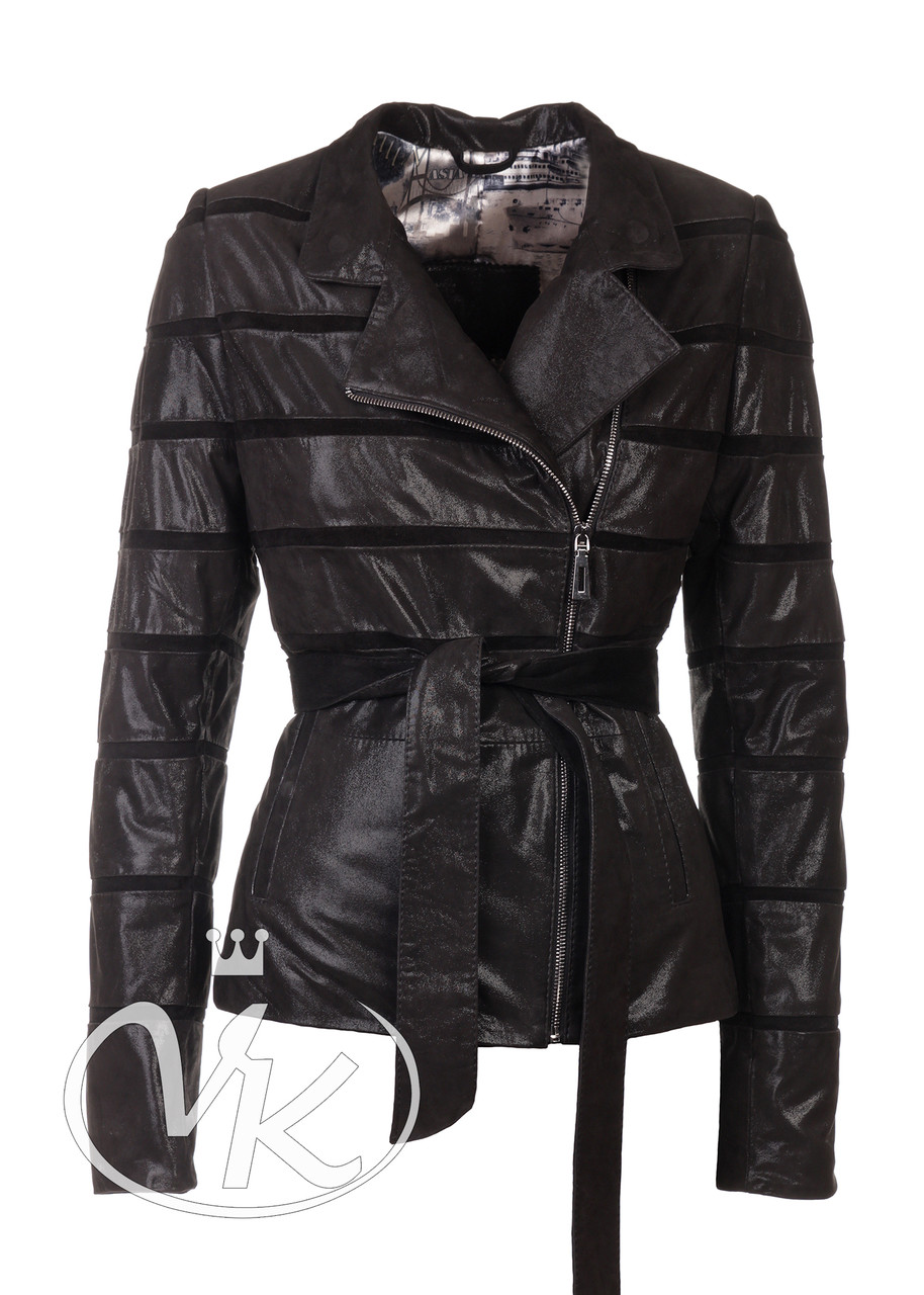 Женская куртка из лазерной кожи черная (Арт. LAN201-2)