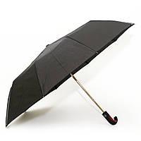 Мужской зонт полуавтомат черный ручка коричневый