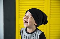 Модные шапочки на детей и взрослых. Черные с черным помпоном., фото 1