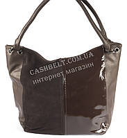 Стильная женская сумка с замшевой и лаковой лицевой частью SOFIYA art. 50161 коричневая, фото 1
