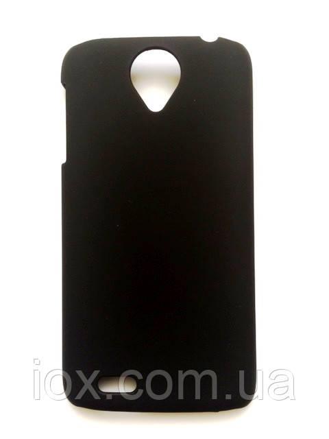 Черный пластиково-прорезиненный чехол для Lenovo S820