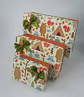 Прямоугольная подарочная коробка ручной работы под осенние настроение с лесными зверюшками
