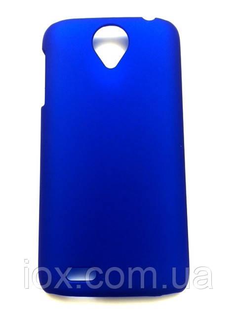 Синий пластиково-прорезиненный чехол для Lenovo S820