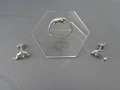 Серебряный комплект Дельфины
