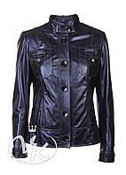 Синяя кожаная куртка женская (размер М), фото 1