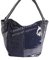 Стильная женская сумка с замшевой и лаковой лицевой частью SOFIYA art. 50161 синяя