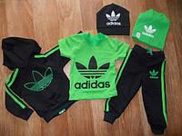 Детский Спортивный Костюм Тройка в стиле Adidas Салатовый Рост 74-116 см