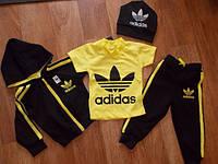 Детский Спортивный Костюм Тройка в стиле Adidas Желтый Рост 74-116 см