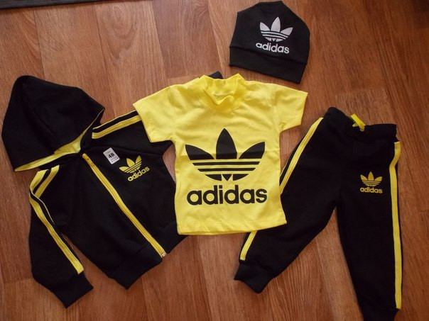 2ae9b01fff8d Детский Спортивный Костюм Тройка в стиле Adidas Желтый Рост 74-116 см -  Ukraine In