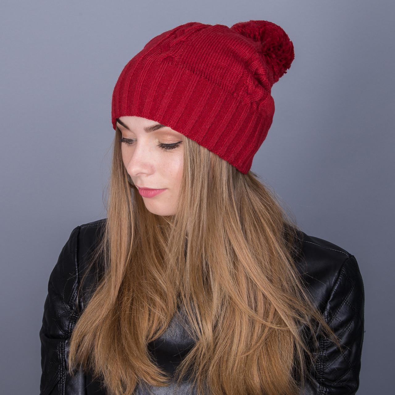Вязанная женская зимняя шапка с помпоном из ангорки - Артикул 7084
