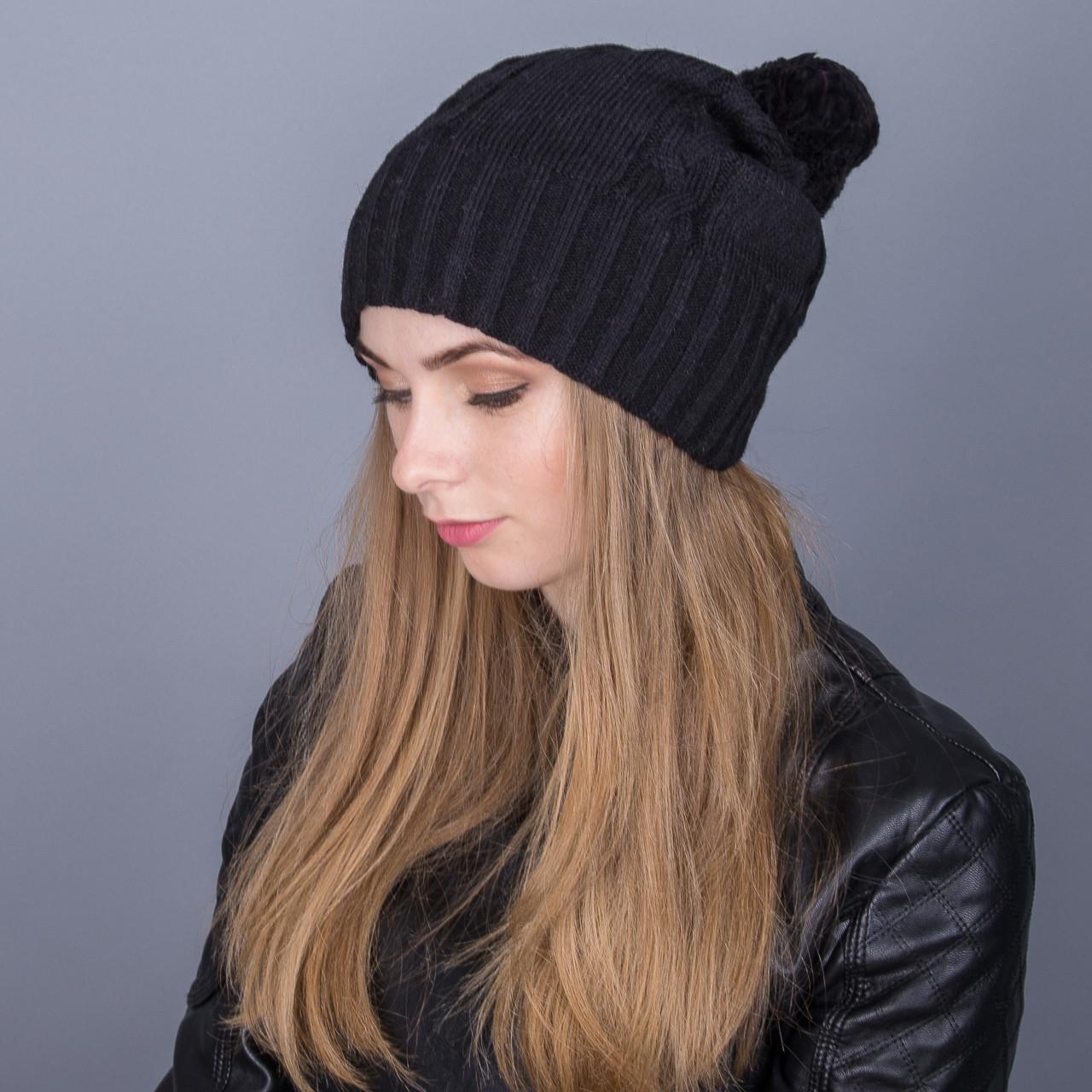 Вязанная женская зимняя шапка с помпоном из ангорки - Артикул 7094