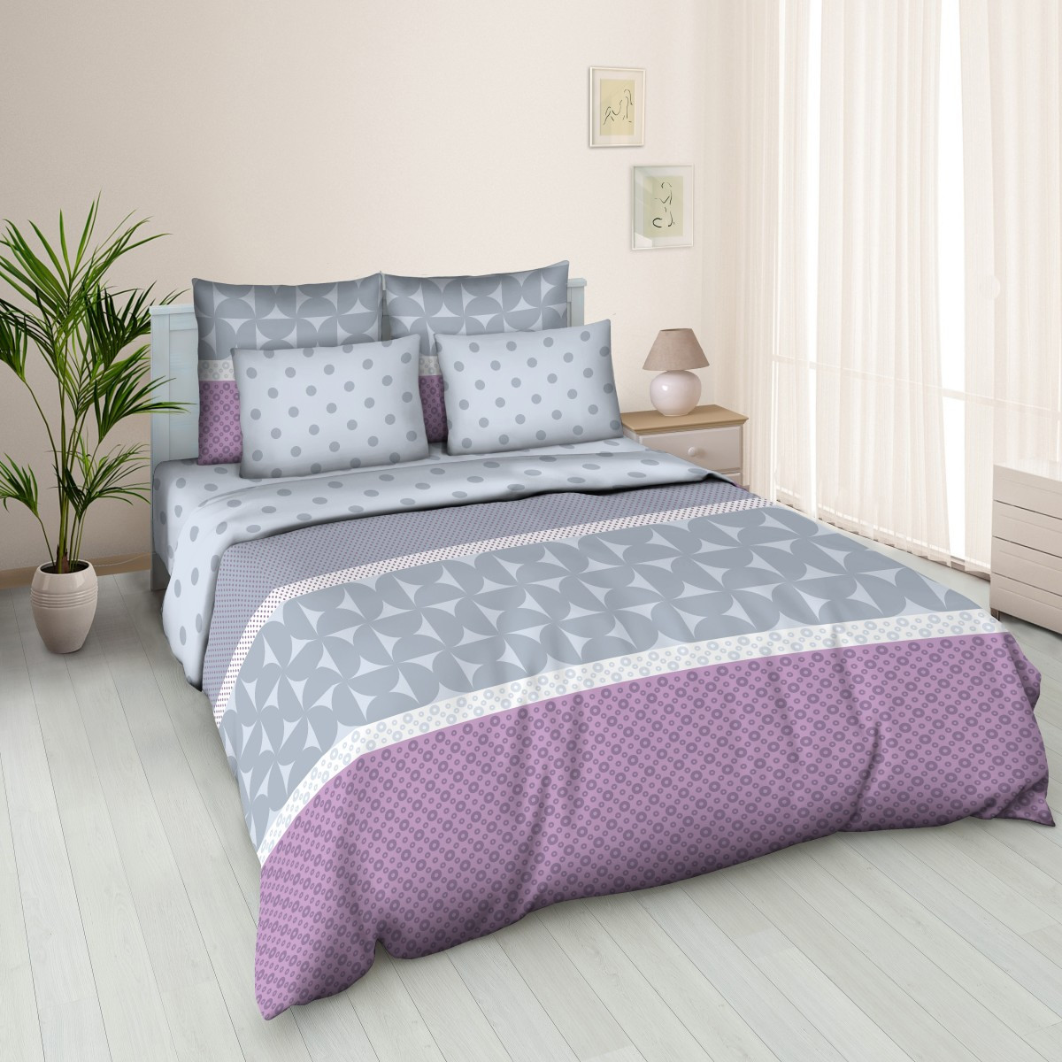 Комплект постельного белья двуспальный, бязь Полька Дот