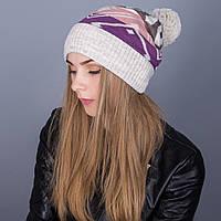Женская вязанная зимняя шапка с помпоном из ангорки - Артикул 7102