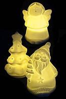 Комплект из 3-х декоративных керамических фигурок Ангел/Елка/Санта, 9 см*диам.6 см