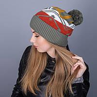 Женская вязанная зимняя шапка с помпоном из ангорки - Артикул 7103