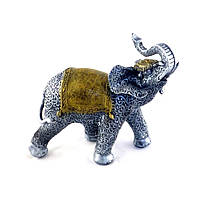 Стильный декоративный слоник серебристого цвета из полистоуна, высотой 30 см