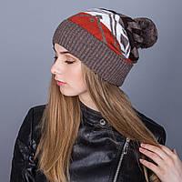 Женская вязанная зимняя шапка с помпоном из ангорки - Артикул 7107