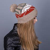 Женская вязанная зимняя шапка с помпоном из ангорки - Артикул 7108