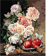 """GX 9746 """"Розы с яблоками и медовыми сотами""""  Роспись по номерам на холсте 40х50см без коробки, в пакете"""