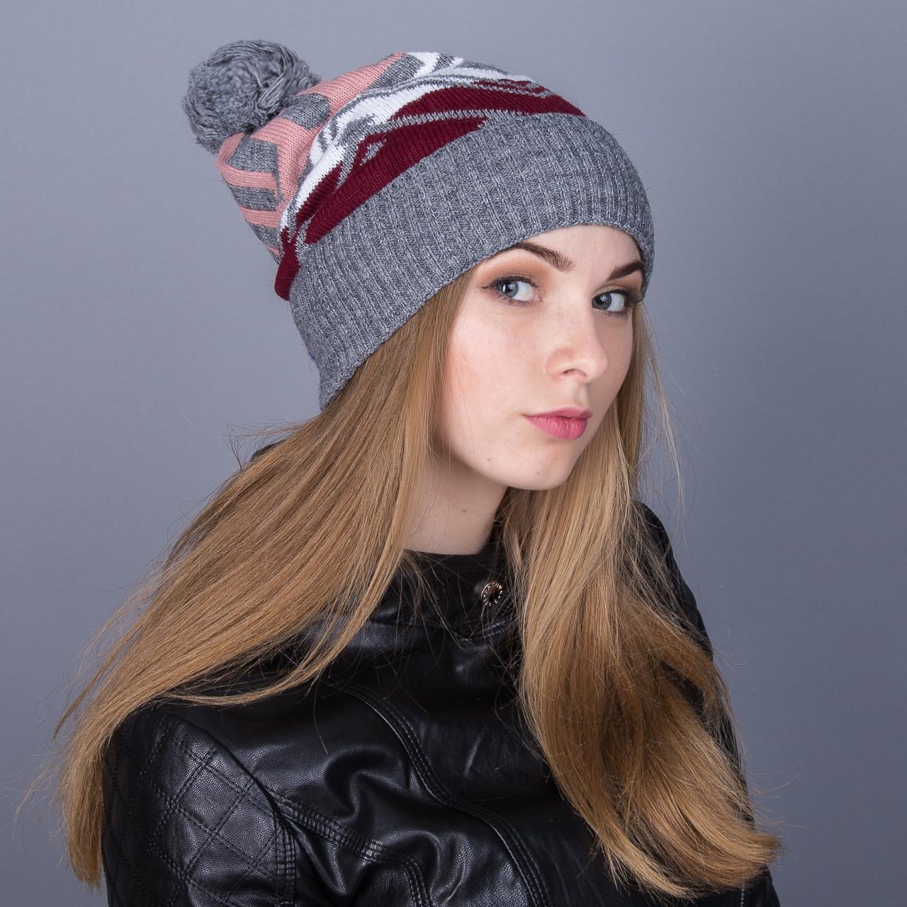 Женская вязанная зимняя шапка с помпоном из ангорки - Артикул 7109