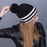 Полосатая женская вязанная зимняя шапка с помпоном из ангорки - Артикул 7110