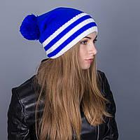 Полосатая женская вязанная зимняя шапка с помпоном из ангорки - Артикул 7111