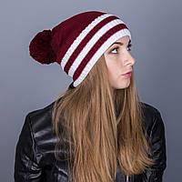 Полосатая женская вязанная зимняя шапка с помпоном из ангорки - Артикул 7112