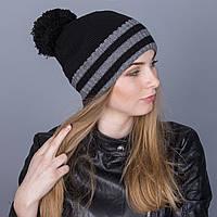 Полосатая женская вязанная зимняя шапка с помпоном из ангорки - Артикул 7114