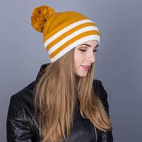 Полосатая женская вязанная зимняя шапка с помпоном из ангорки - Артикул 7127