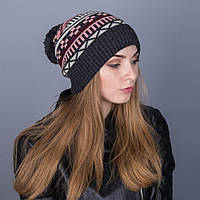 Женская вязанная зимняя шапка с помпоном из ангорки - Зигзаги - Артикул 7115
