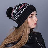 Женская вязанная зимняя шапка с помпоном из ангорки - Зигзаги - Артикул 7116