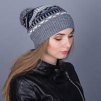 Женская вязанная зимняя шапка с помпоном из ангорки - Зигзаги - Артикул 7117