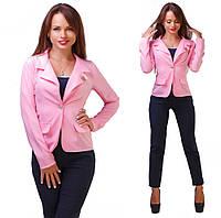 Женский стильный короткий пиджак 137/1 / батал / розовый