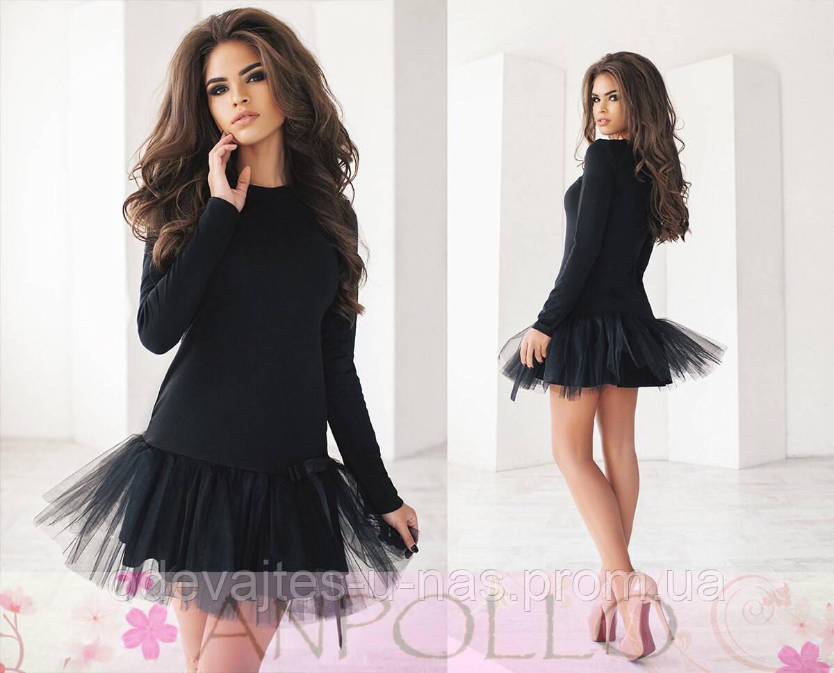 17be41c56a6 Нарядное короткое платье черное красное нежнорозовое с юбкой из фатина  710 19 ЛЛ - Одевайтесь