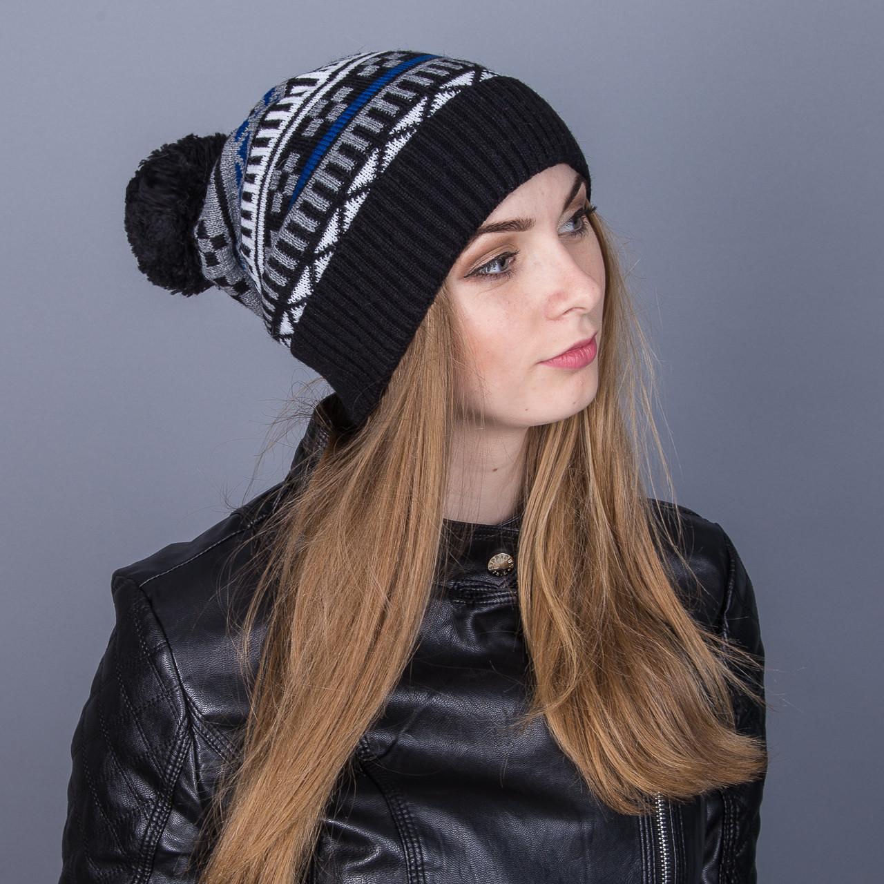 Женская вязанная зимняя шапка с помпоном из ангорки - Зигзаги - Артикул 7121