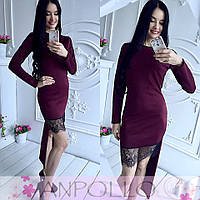 Женское платье приталенное с асимметрией подола спереди кружево дайвинг цвет марсала 710/20 ЛЛ