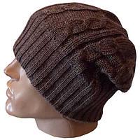 Мужская вязаная шапка - носок цвета какао , спортивного силуэта