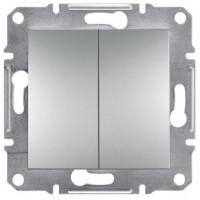 Выключатель проходной 2-клавишный, алюминий - Schneider Electric Asfora EPH0600161