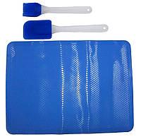 Набор силиконовый коврик на противень +кисточка+лопатка