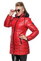 Яркая красная зимняя куртка Инга 42-52 размеры