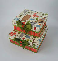 Маленькие квадратные подарочные коробки ручной работы в осеннем стиле с лесными зверюшками