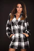 Пальто женское черно-белое в клеточку кашемир 42,44,46