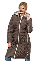 Длинная зимняя куртка Эльза шоколад 46-56 размеры
