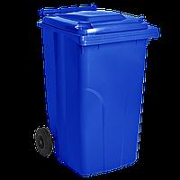 Бак мусорный 120л на колесах Синий
