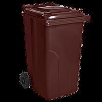 Бак мусорный 240л на колесах Полипропилен, Коричневый