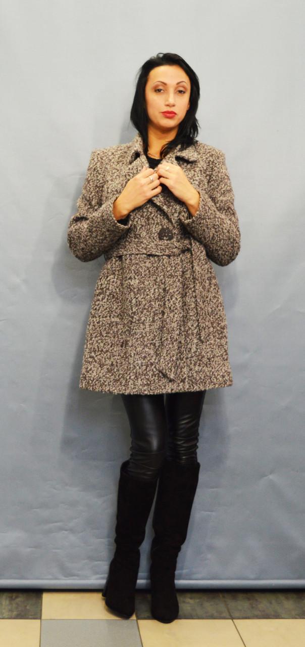 Пальто коричневый меланж ICON 8896